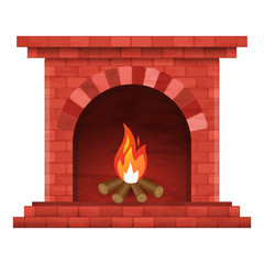 Vector image of brick fireplace with fire on white background