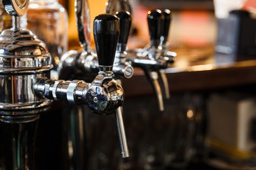 Close-up of the beer pipes