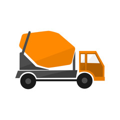 Concrete mixing truck . Flat design. Industrial transport. Construction machine. Orange lorry with mixer .