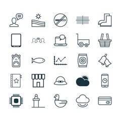 Set Of 25 Universal Editable Icons. Can Be Used For Web, Mobile And App Design. Includes Elements Such As Fertilizer, Rostrum, Plastic Card And More.