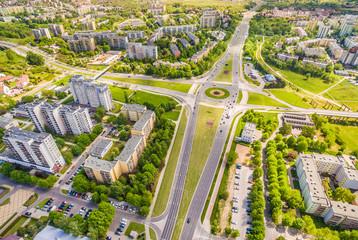 Obraz Lublin - Dzielnica Czuby z lotu ptaka. Rondo na ulicy Jan Pawła II - fototapety do salonu