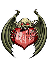 Unhappy love. Illustration cartoon demon or a bat eating a valentine heart