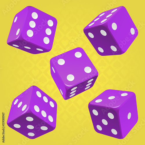 Vector Casino Dice Set Of 5 Authentic Icons Purple Poker Cubes With