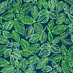 Ink hand drawn green foliage seamless pattern