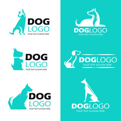 Dog sit logo , pet logo vector set design