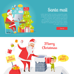 Set of Merry Christmas and Santa Mail Pictures