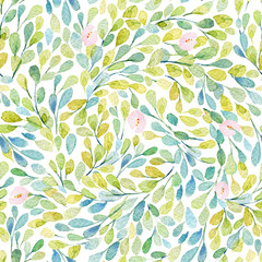 Seamless pattern with  lovely pink flowers. Watercolor illustration. Composition with floral elements.