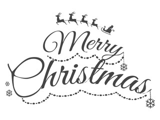 Colourless Merry Christmas Greeting Card with Text