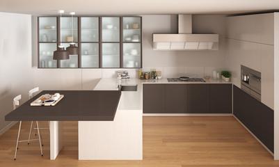 Classic minimal white and brown kitchen with parquet floor, modern interior design