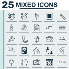 Set Of 25 Universal Editable Icons. Can Be Used For Web, Mobile And App Design. Includes Elements Such As Hooch, Crooked Pointed Line, Video Surveillance And More.
