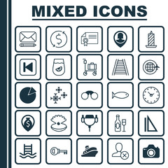 Set Of 25 Universal Editable Icons. Can Be Used For Web, Mobile And App Design. Includes Elements Such As Pie Chart, Wine, Suitcase Pushcart And More.