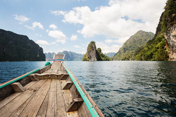 View from Long Tail Boat on Cheow Lan Lake in Thailand
