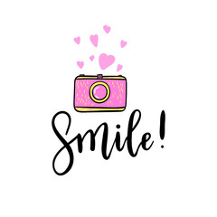 Smile hand lettering with pink retro photo camera, hearts sticker. Vector cute emoji illustration.
