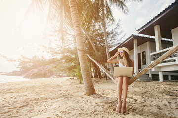 Woman sitting in hammock working with laptop computer on tropical island beach under palm tree
