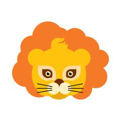 Lion Animal Carnival Mask. Orange King of Beast