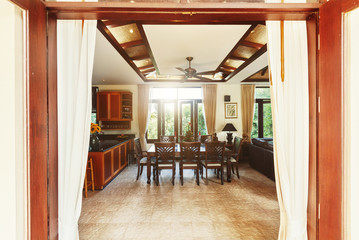 Dining room interior in tropical villa