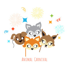 Animal Carnival. Decoration. Cartoon Masks on Face