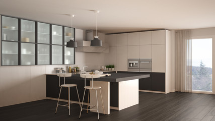 Classic minimal white and gray kitchen with parquet floor, modern interior design