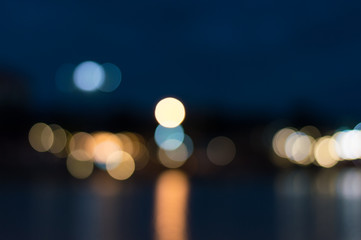 Blurred image background of bokeh at night.