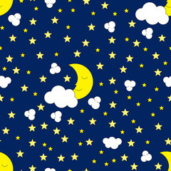 Seamless Moon and Stars Pattern