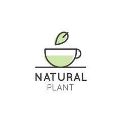 Vector Icon Style Illustration Logo for Organic Vegan Healthy Shop or Store. Green Natural Tree Plant with Leafs Symbol