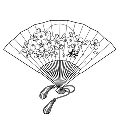 Fan with floral decoration