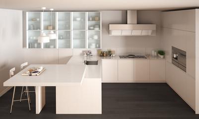 Classic minimal white kitchen with parquet floor, modern interior design