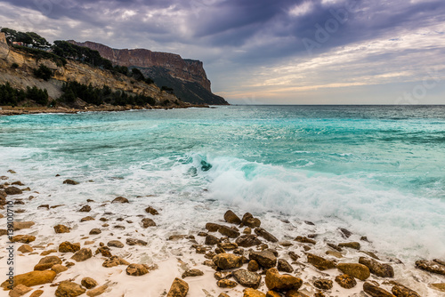 plage de cassis et le cap canaille bouches du rh ne provence france stockfotos und. Black Bedroom Furniture Sets. Home Design Ideas