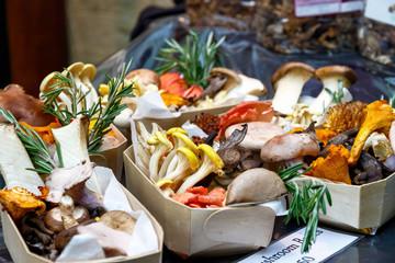 Variety of mushrooms on display in London
