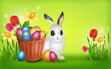 Easter background with basket with pile of easter eggs