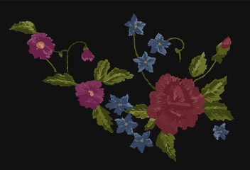 embroidery ethnic flowers neck line flower design