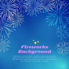 Fireworks Background. Colorful Top Frame on blue