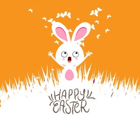 Happy easter cards illustration with eggs and bunny