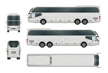 White bus vector template. Tourist coach isolated on white. All elements in the groups have names, the view sides are on separate layers. There is the ability to easily editing.