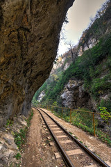 Beautiful scenic landscape of narrow-gauge railroad track passing through Guam mountain river canyon in Caucasus mountains at summer. Vertical view