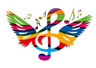 Musique - Ailes - Clé de sol - concert - symbole - Festival de la musique