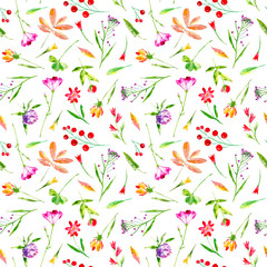 Floral seamless pattern of a wild flowers and herbs on a white background.Buttercup, cornflower, clover, bluebell, lobelia, snowdrop flowers. Watercolor hand drawn illustration.