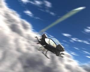 3d three-dimensional military helicopter above the clouds