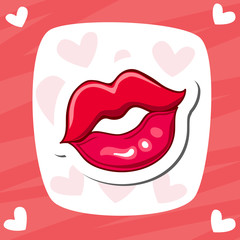 Lips kiss. Vector patch, sticker. Cool sexy red kissed. Selphie cartoon Sign for print, in comics, Fashion.