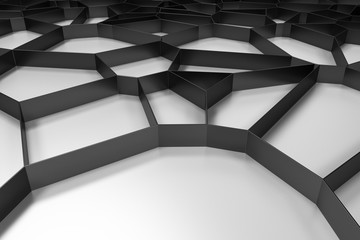 Abstract black 3d voronoi grate on colored background
