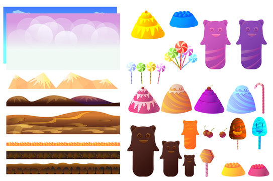 Game sweets pieces, candyland Elements. Vector collection For Video Game
