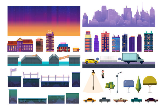 Night City Game Level Kit. Vector collection For Video Game On White Background