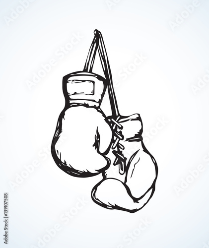 Boxing gloves. Vector drawing