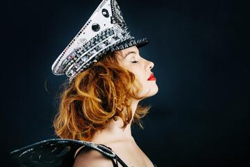 fashion portrait  glamour luxury woman singer in dark studio background
