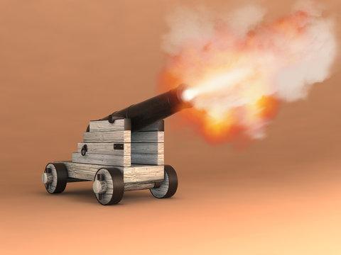 Antiguo cañón disparando