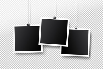 Blank photo frame set hanging on a clip. Retro vintage style. Black empty place for your text or photo. Realistic detailed photo icon design template. Vector illustration. Isolated on transparent back