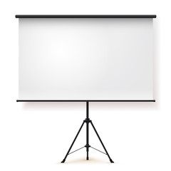 Blank realistic tripod portable projection screen. Vector illustration. Isolated on white background.