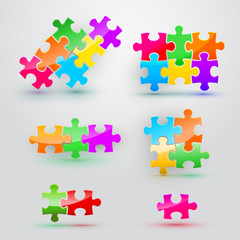 Set of puzzles on white background in colored colors.