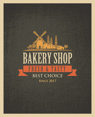 Vector banner for a bakery shop with a picture of the village and windmill on the background of sacking
