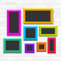 Picture frame template set isolated on wall. Vector illustration EPS 10. Isolated on white background.